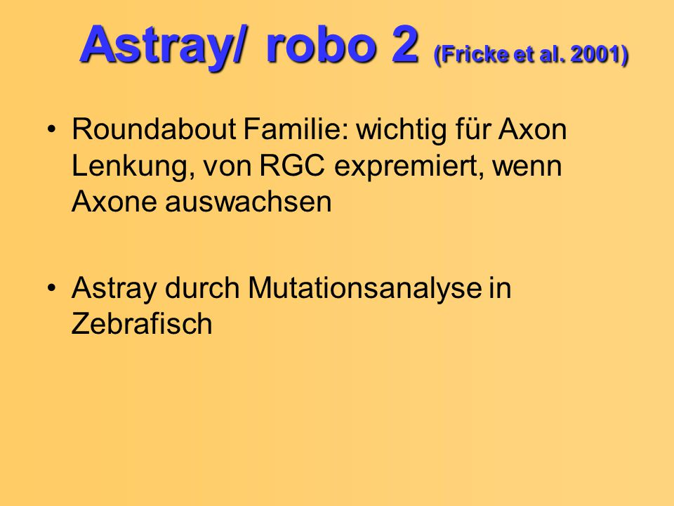 Astray/ robo 2 (Fricke et al. 2001)