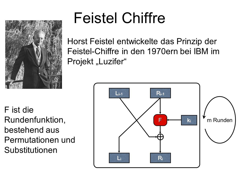 """Feistel Chiffre Horst Feistel entwickelte das Prinzip der Feistel-Chiffre in den 1970ern bei IBM im Projekt """"Luzifer"""
