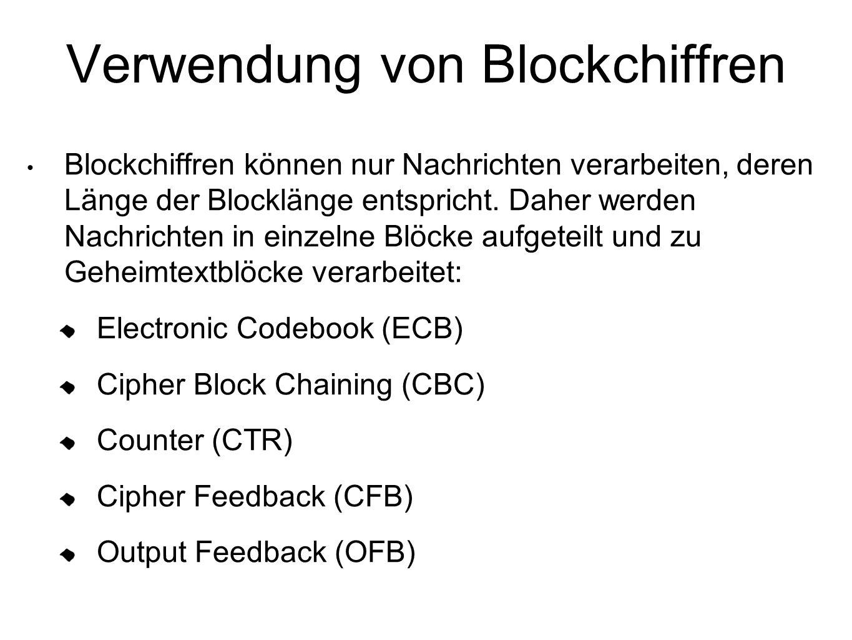 Verwendung von Blockchiffren