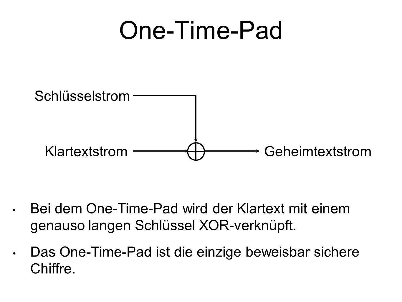 One-Time-Pad Schlüsselstrom Klartextstrom Geheimtextstrom