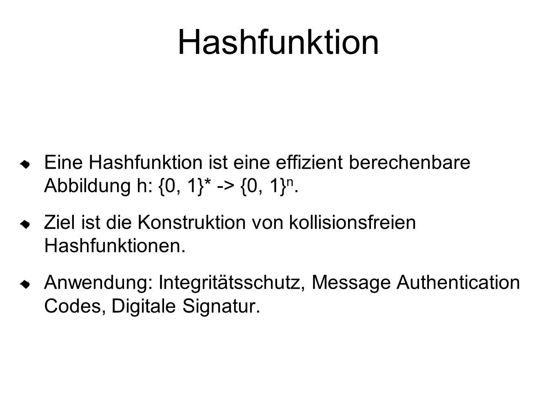 Hashfunktion Eine Hashfunktion ist eine effizient berechenbare Abbildung h: {0, 1}* -> {0, 1}n.
