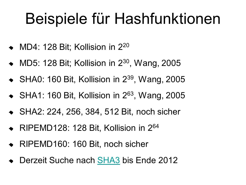 Beispiele für Hashfunktionen