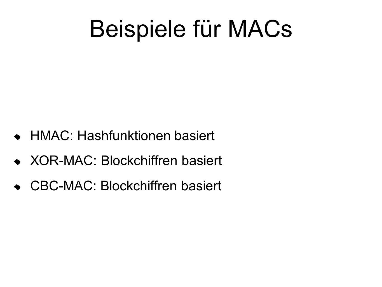 Beispiele für MACs HMAC: Hashfunktionen basiert