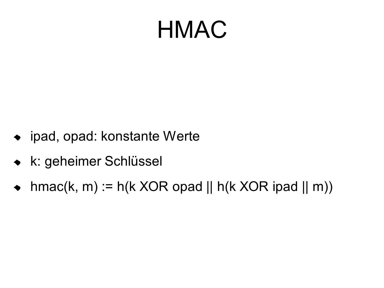 HMAC ipad, opad: konstante Werte k: geheimer Schlüssel