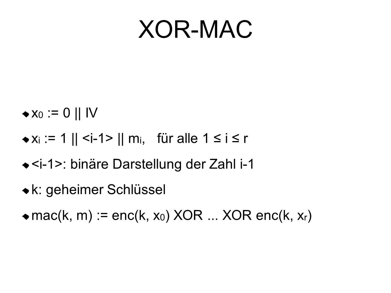 XOR-MAC x0 := 0 || IV xi := 1 || <i-1> || mi, für alle 1 ≤ i ≤ r