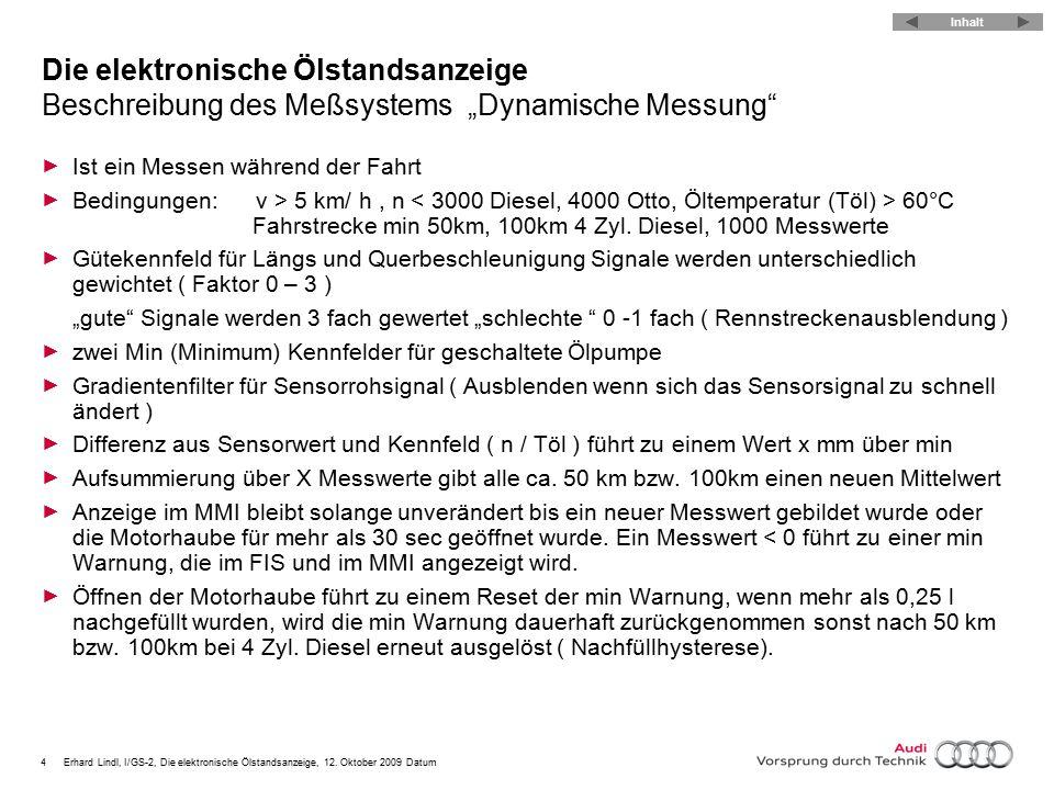 """Die elektronische Ölstandsanzeige Beschreibung des Meßsystems """"Dynamische Messung"""