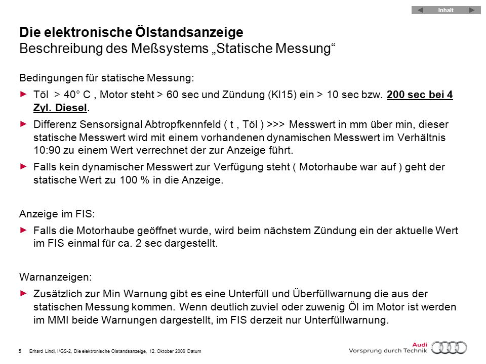 """Die elektronische Ölstandsanzeige Beschreibung des Meßsystems """"Statische Messung"""