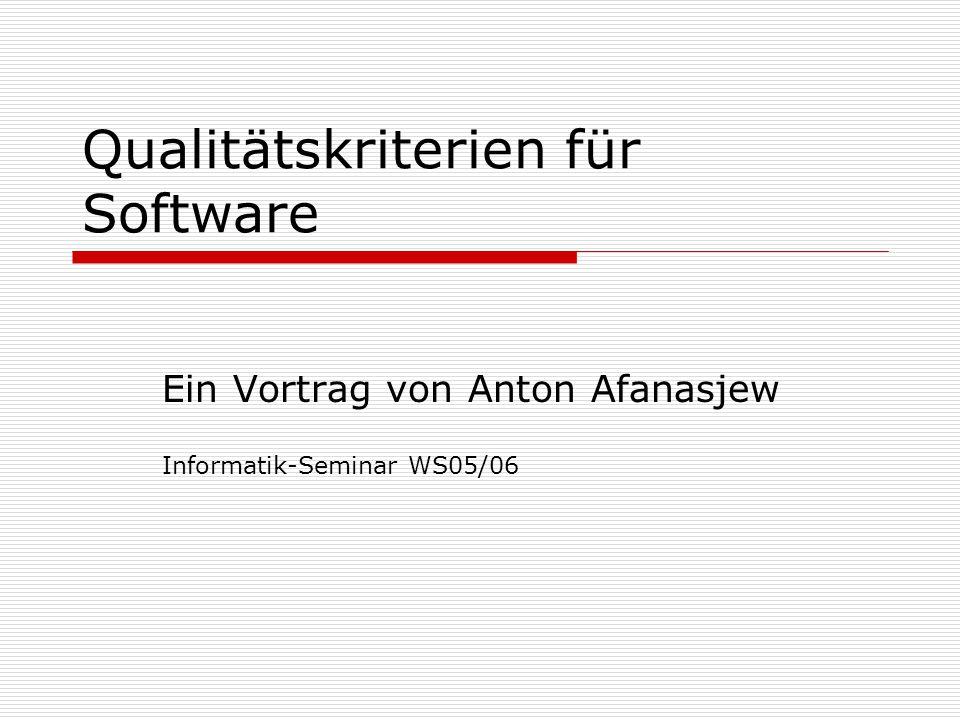 Qualitätskriterien für Software
