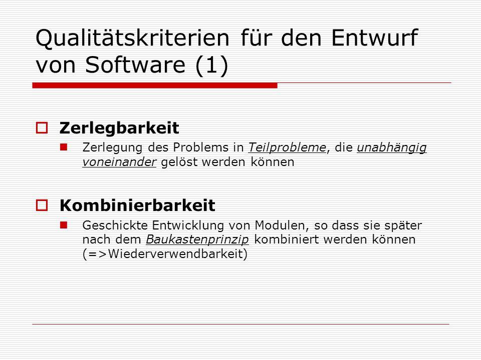 Qualitätskriterien für den Entwurf von Software (1)