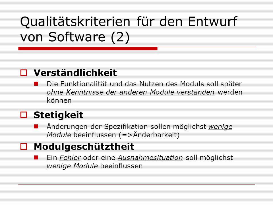 Qualitätskriterien für den Entwurf von Software (2)