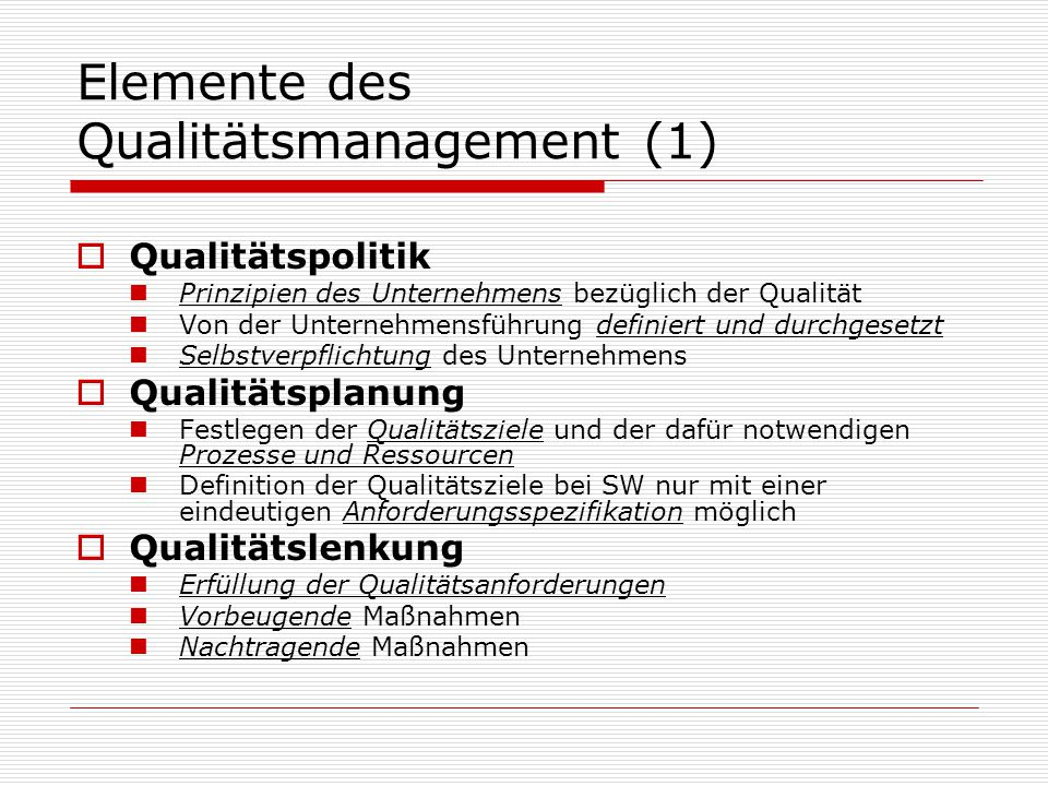 Elemente des Qualitätsmanagement (1)