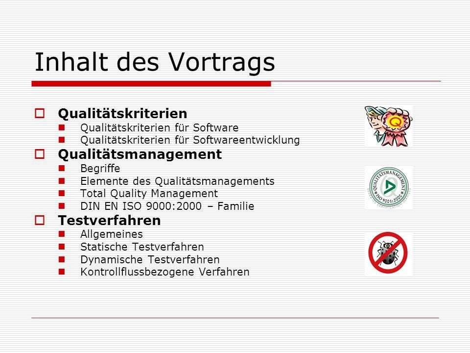 Inhalt des Vortrags Qualitätskriterien Qualitätsmanagement