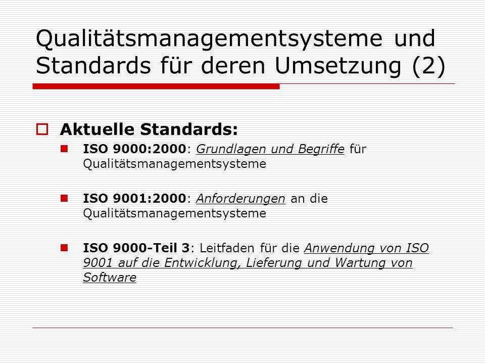 Qualitätsmanagementsysteme und Standards für deren Umsetzung (2)