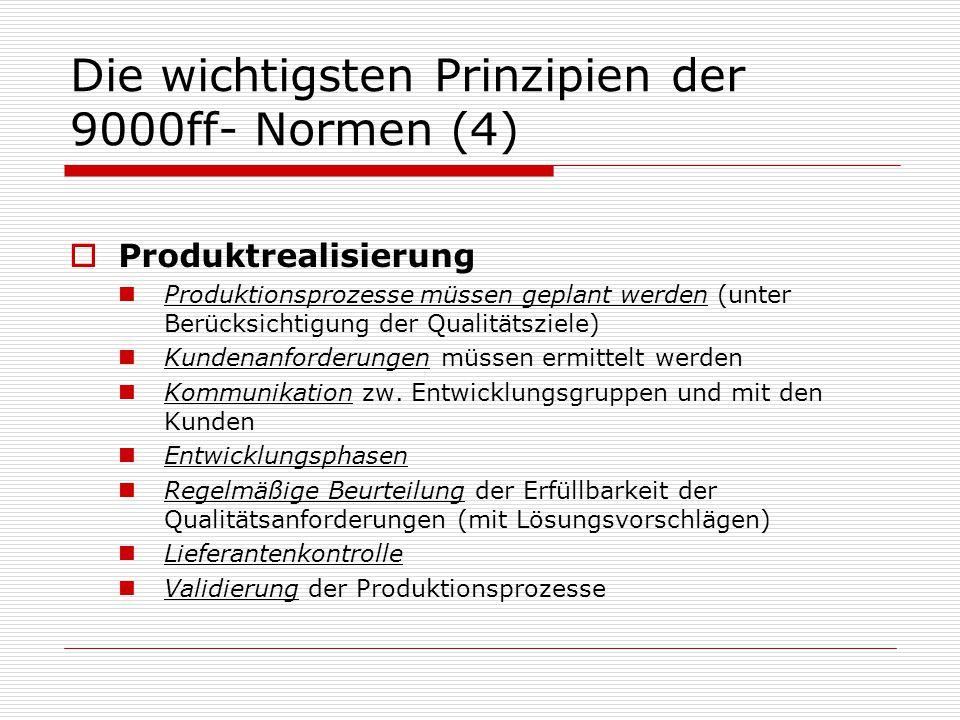 Die wichtigsten Prinzipien der 9000ff- Normen (4)
