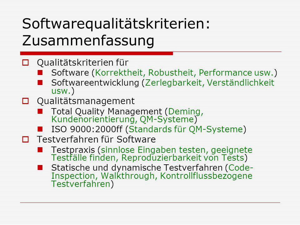 Softwarequalitätskriterien: Zusammenfassung