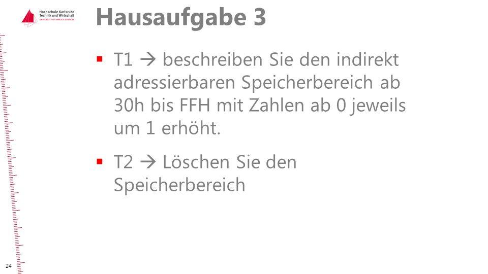 Hausaufgabe 3 T1  beschreiben Sie den indirekt adressierbaren Speicherbereich ab 30h bis FFH mit Zahlen ab 0 jeweils um 1 erhöht.