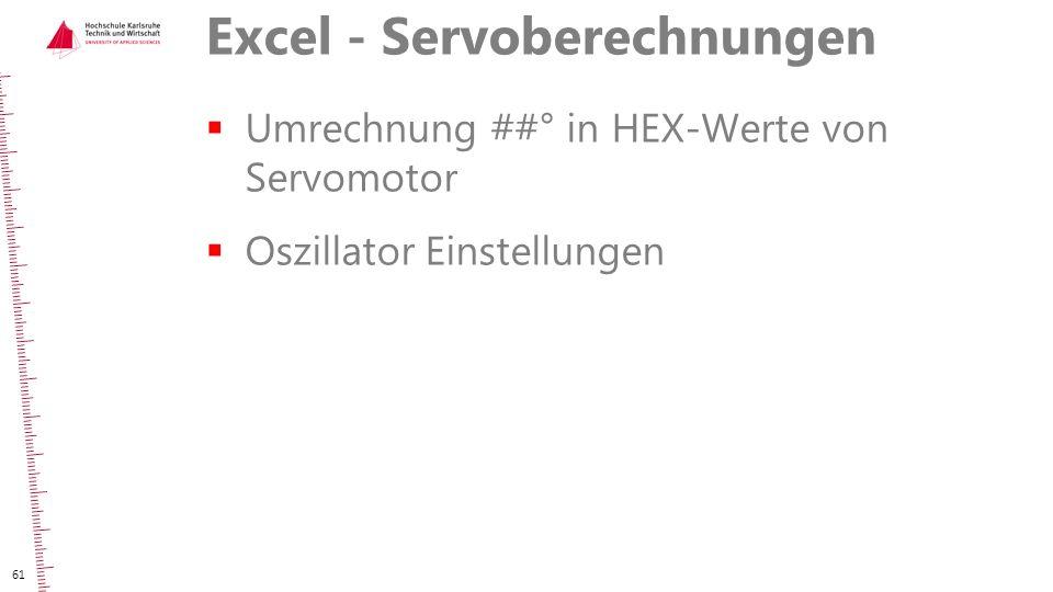 Excel - Servoberechnungen