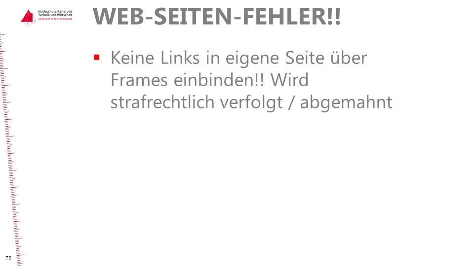 WEB-SEITEN-FEHLER!. Keine Links in eigene Seite über Frames einbinden!.
