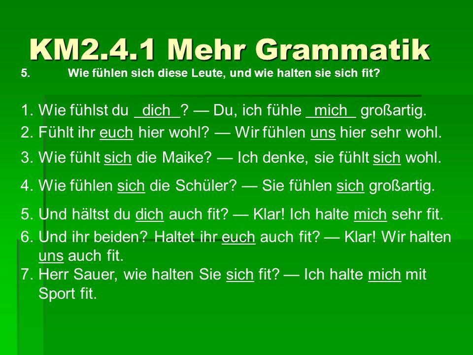 KM2.4.1 Mehr Grammatik 5. Wie fühlen sich diese Leute, und wie halten sie sich fit Wie fühlst du dich — Du, ich fühle mich großartig.