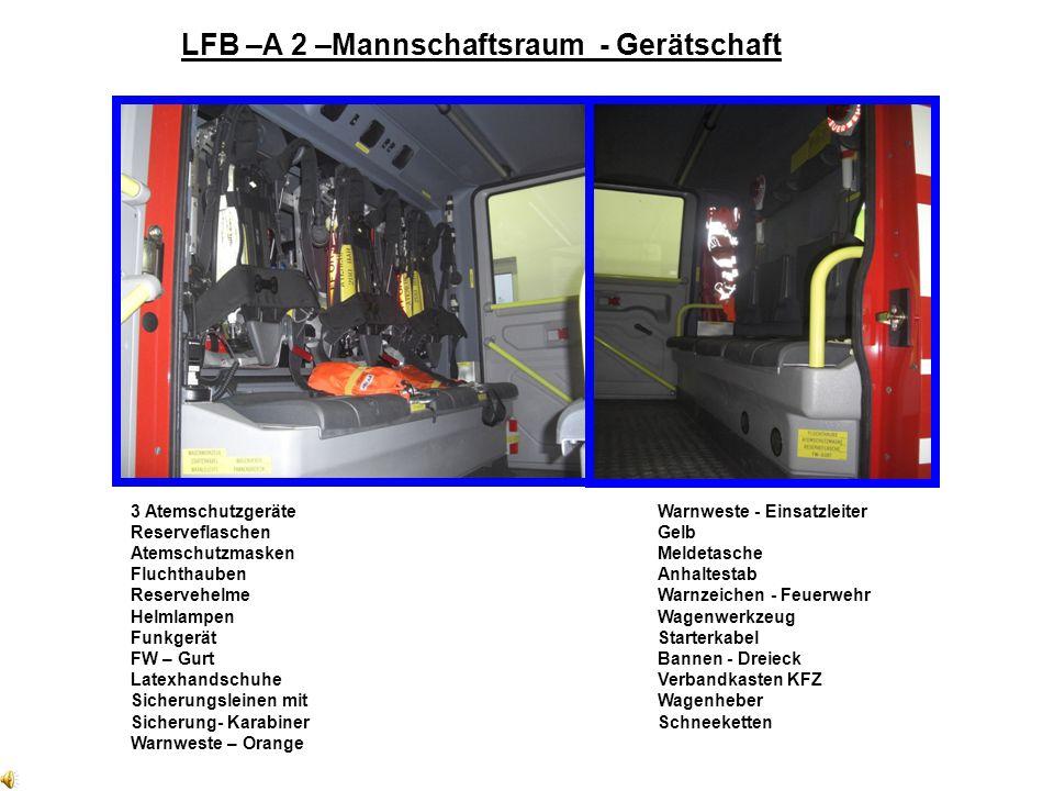 LFB –A 2 –Mannschaftsraum - Gerätschaft