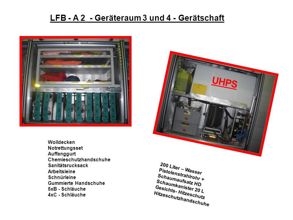 LFB - A 2 - Geräteraum 3 und 4 - Gerätschaft