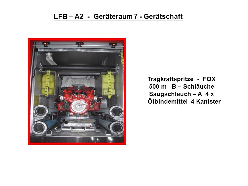LFB – A2 - Geräteraum 7 - Gerätschaft Ölbindemittel 4 Kanister