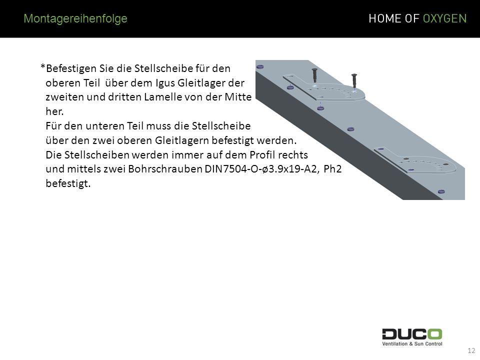 Montagereihenfolge *Befestigen Sie die Stellscheibe für den. oberen Teil über dem Igus Gleitlager der.