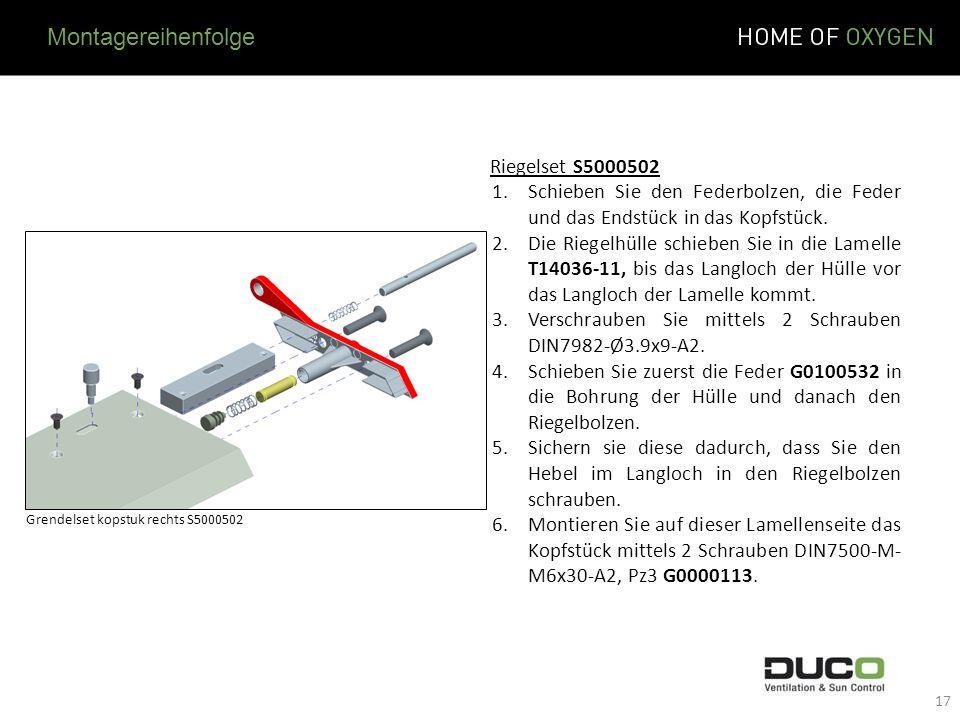 Montagereihenfolge Riegelset S5000502