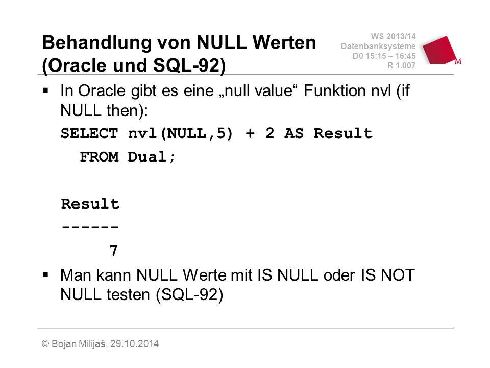 Behandlung von NULL Werten (Oracle und SQL-92)