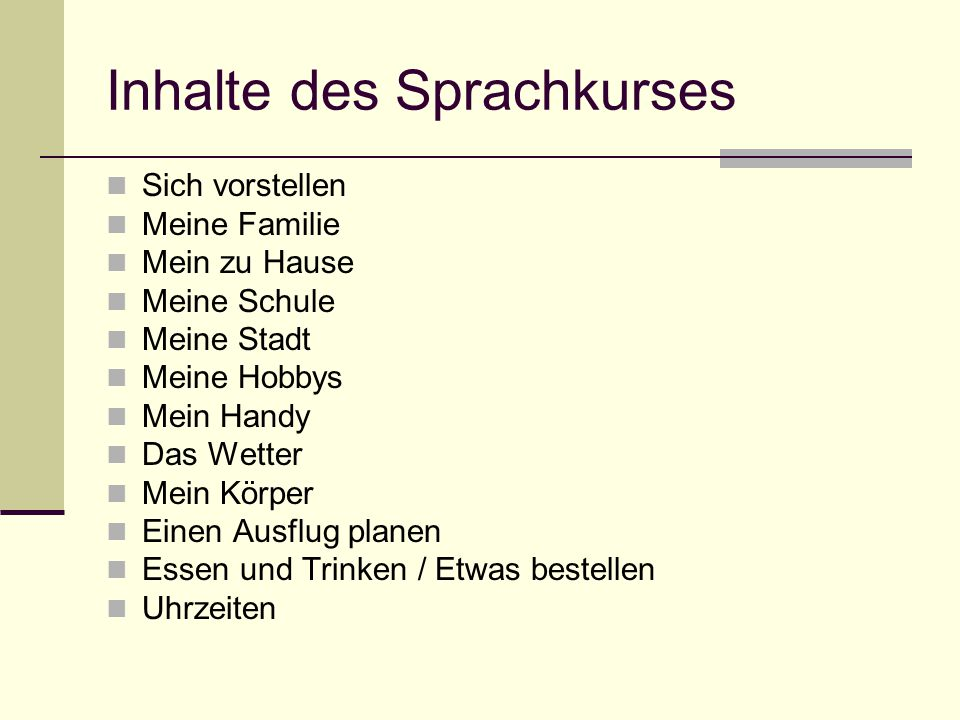 Inhalte des Sprachkurses