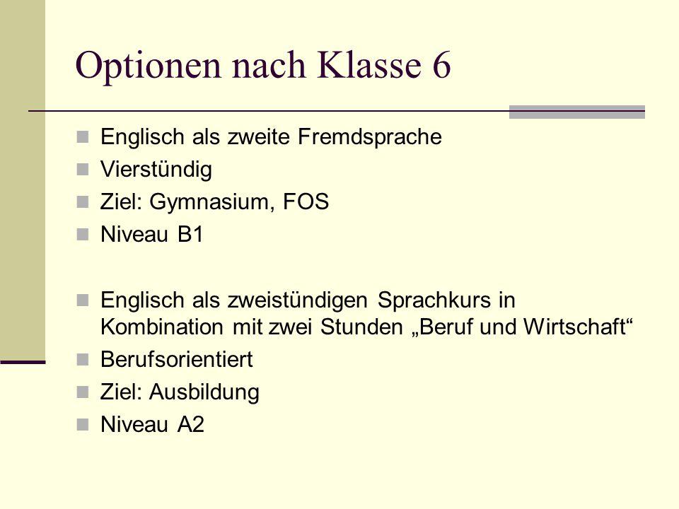 Optionen nach Klasse 6 Englisch als zweite Fremdsprache Vierstündig