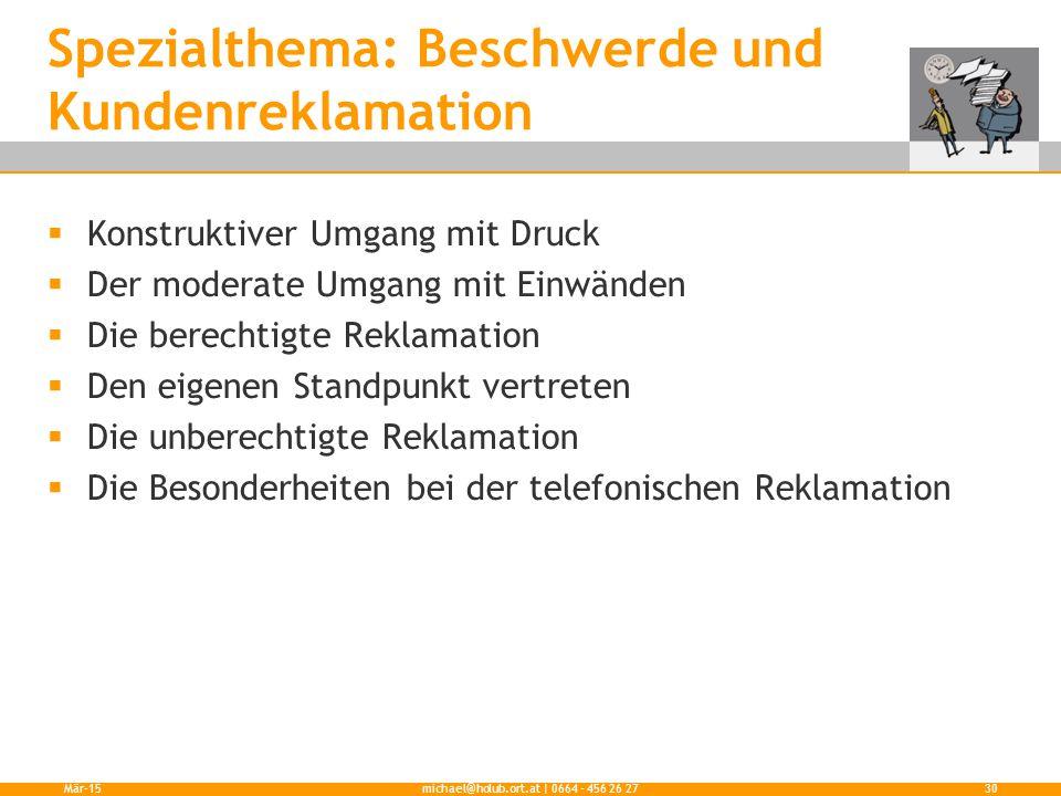 Spezialthema: Beschwerde und Kundenreklamation