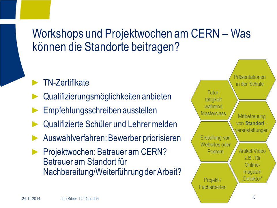 Workshops und Projektwochen am CERN – Was können die Standorte beitragen