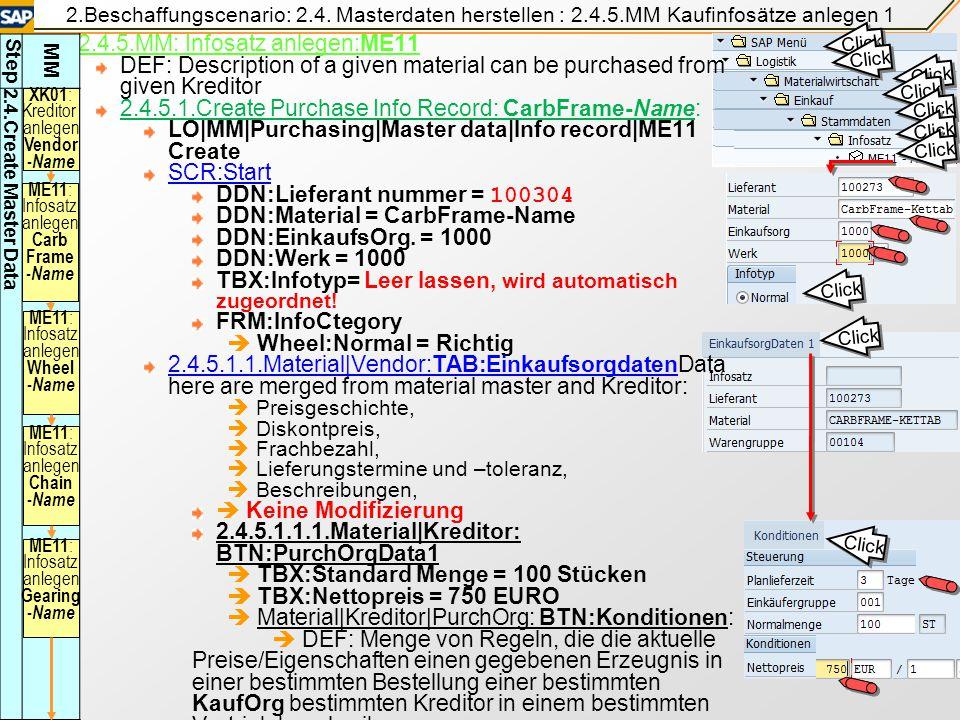 2.4.5.MM: Infosatz anlegen:ME11