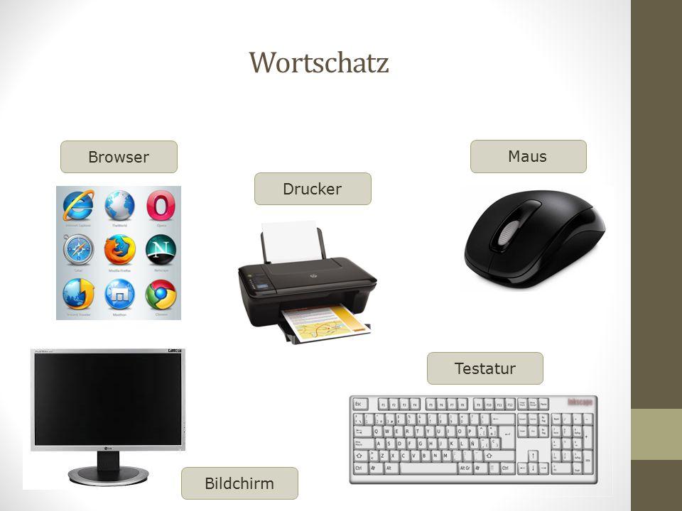 Wortschatz Browser Maus Drucker Testatur Bildchirm