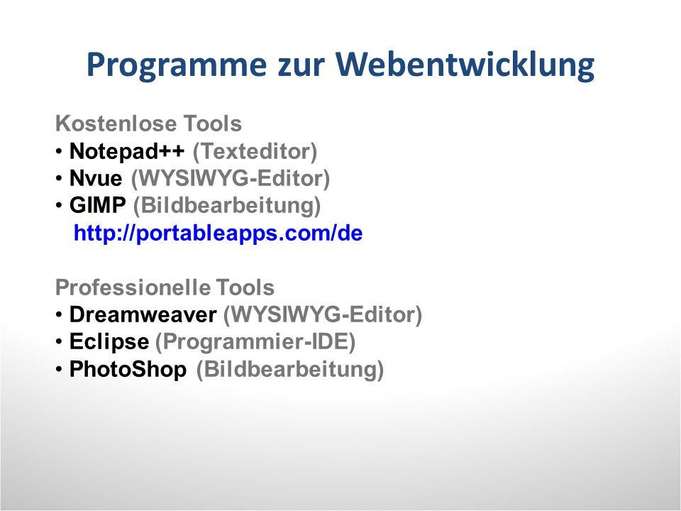 Programme zur Webentwicklung