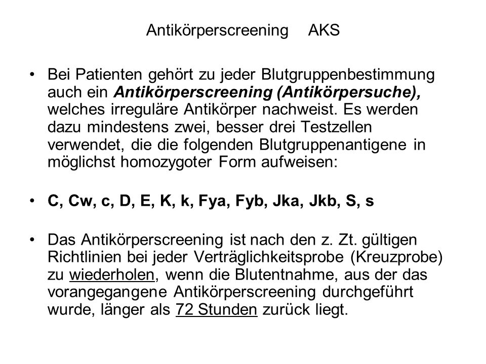 Antikörperscreening AKS