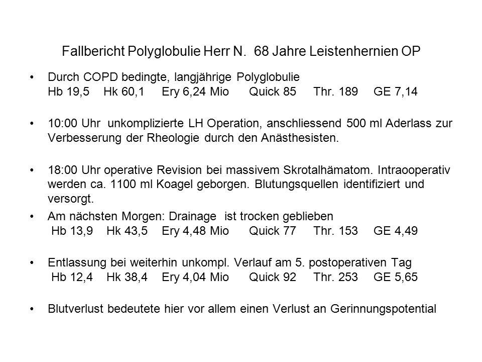 Fallbericht Polyglobulie Herr N. 68 Jahre Leistenhernien OP
