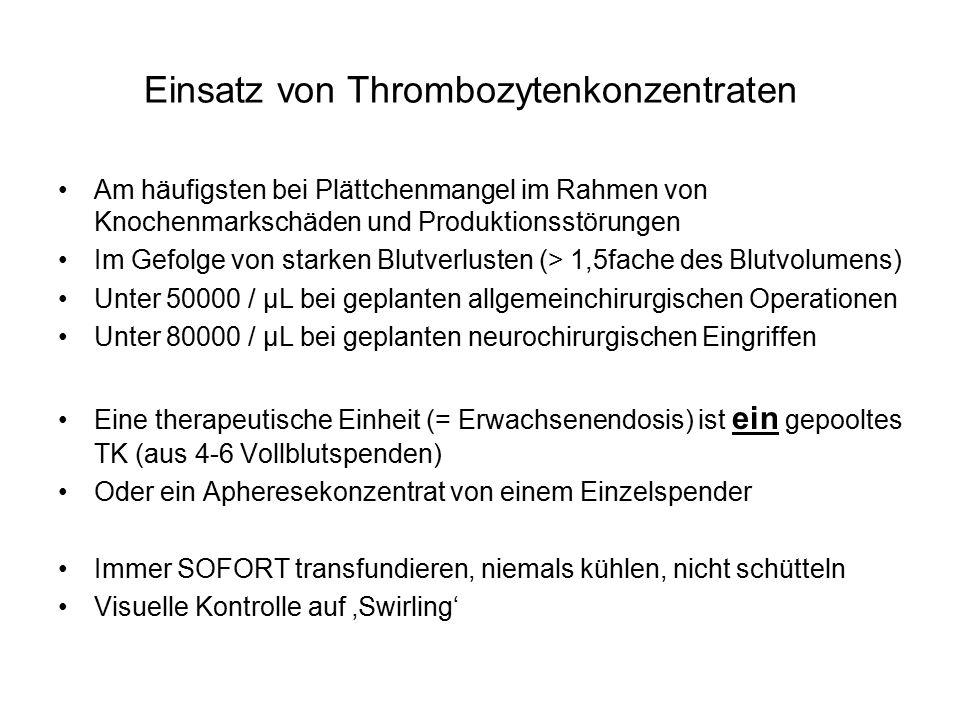 Einsatz von Thrombozytenkonzentraten
