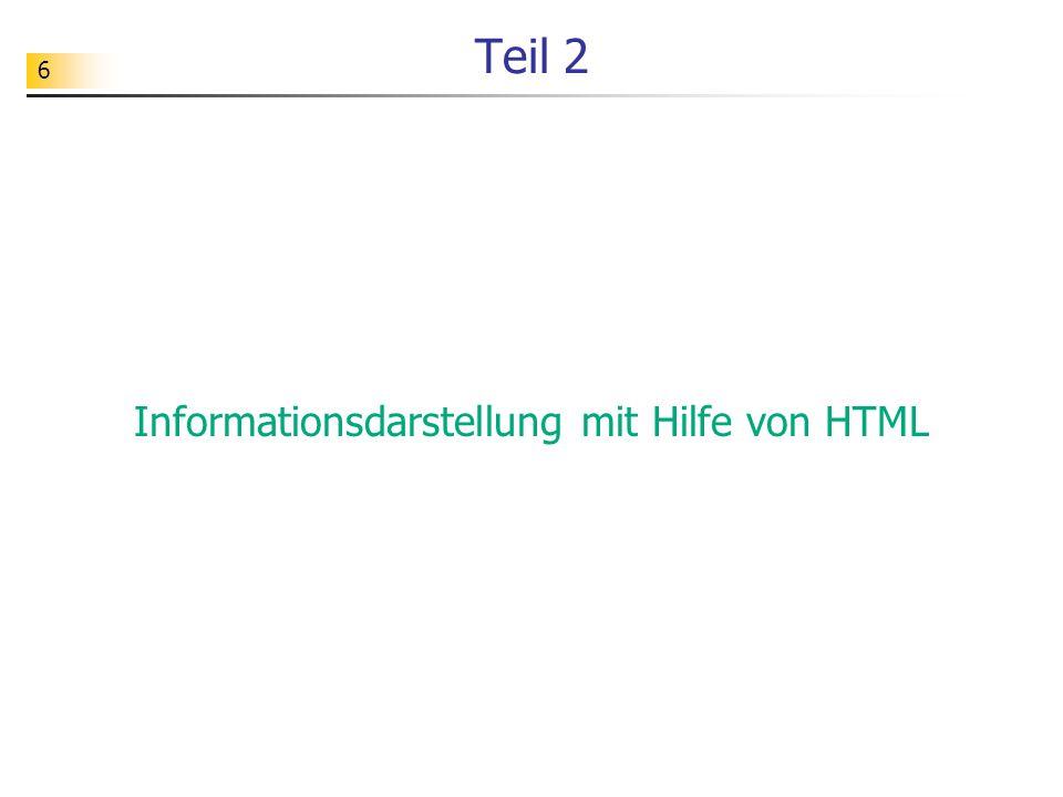 Informationsdarstellung mit Hilfe von HTML