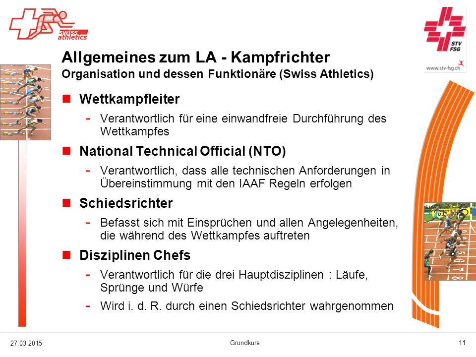 Allgemeines zum LA - Kampfrichter Organisation und dessen Funktionäre (Swiss Athletics)