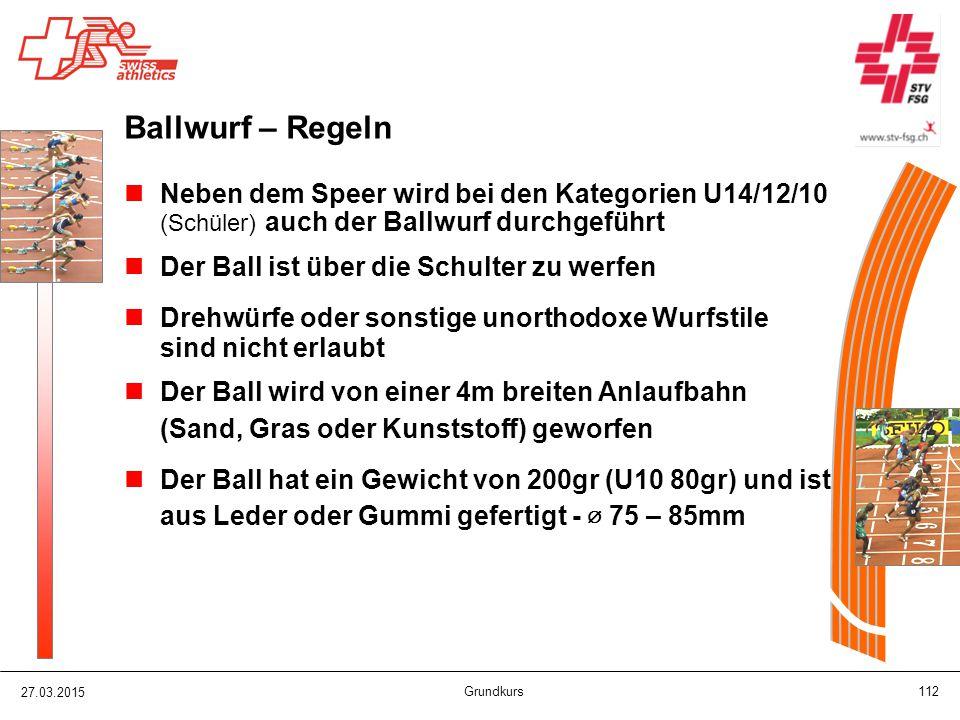Ballwurf – Regeln Neben dem Speer wird bei den Kategorien U14/12/10
