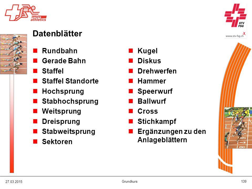 Datenblätter Rundbahn Gerade Bahn Staffel Staffel Standorte Hochsprung
