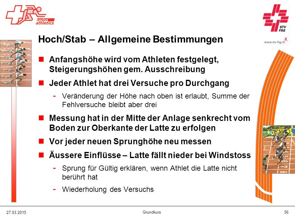 Hoch/Stab – Allgemeine Bestimmungen