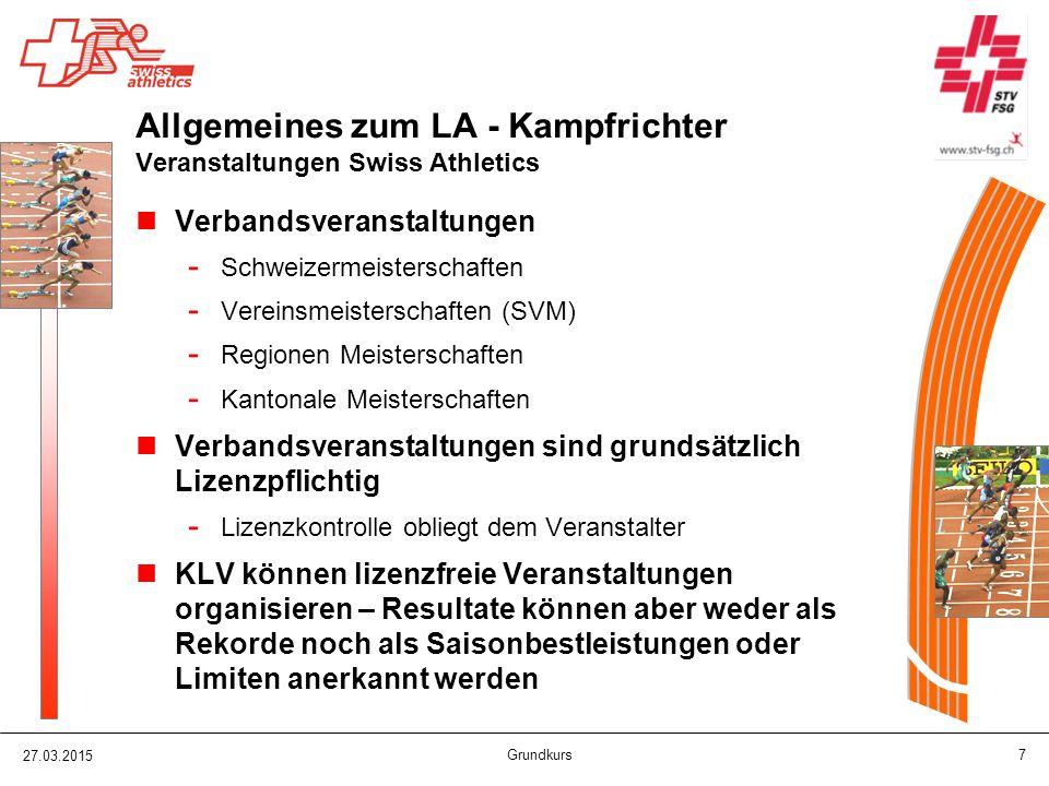 Allgemeines zum LA - Kampfrichter Veranstaltungen Swiss Athletics