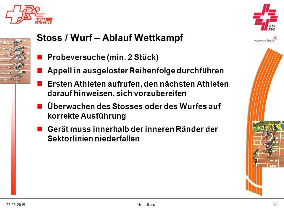 Stoss / Wurf – Ablauf Wettkampf