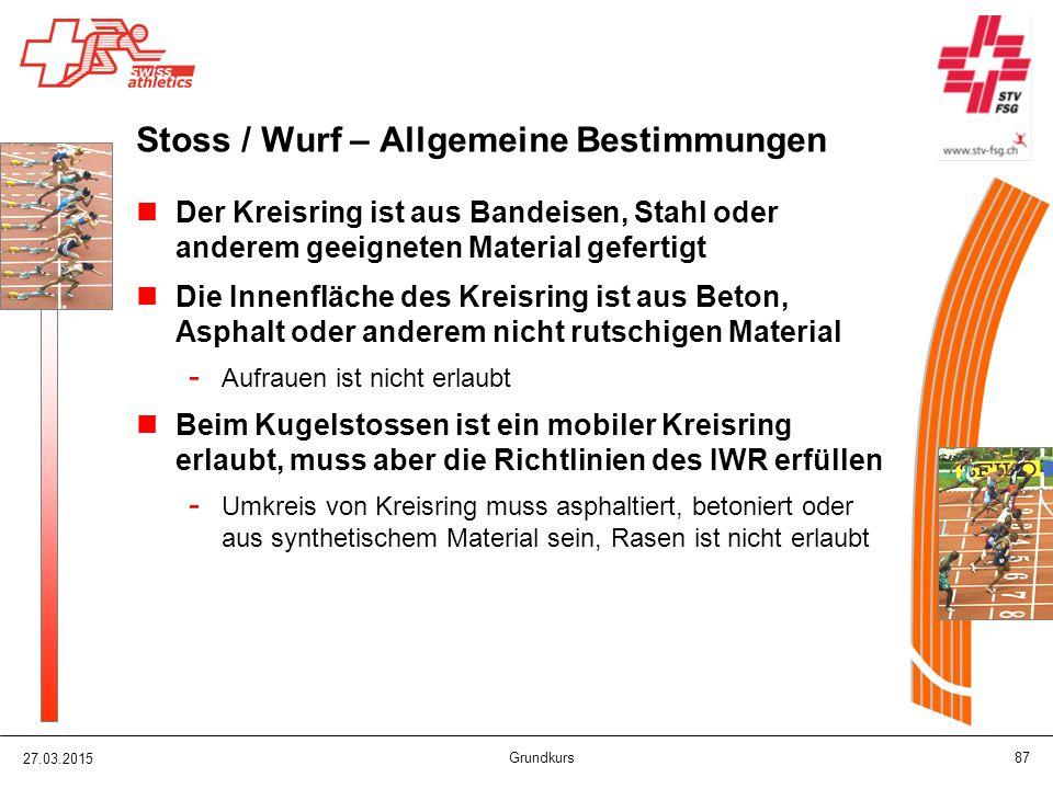 Stoss / Wurf – Allgemeine Bestimmungen
