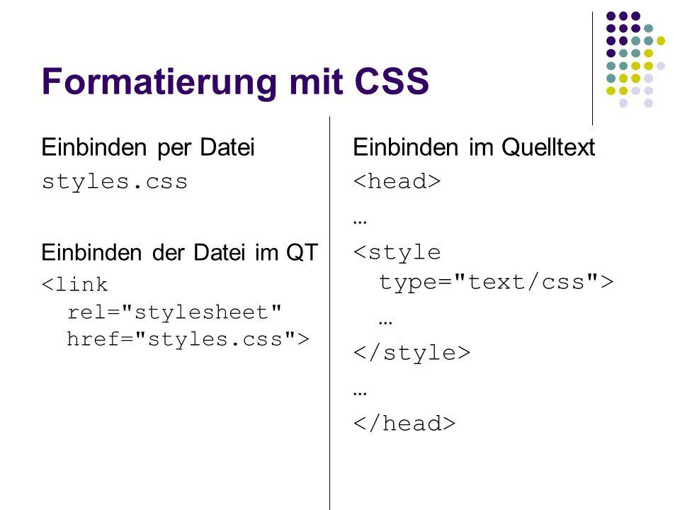 Formatierung mit CSS Einbinden per Datei styles.css