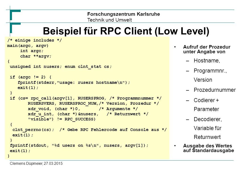 Beispiel für RPC Client (Low Level)