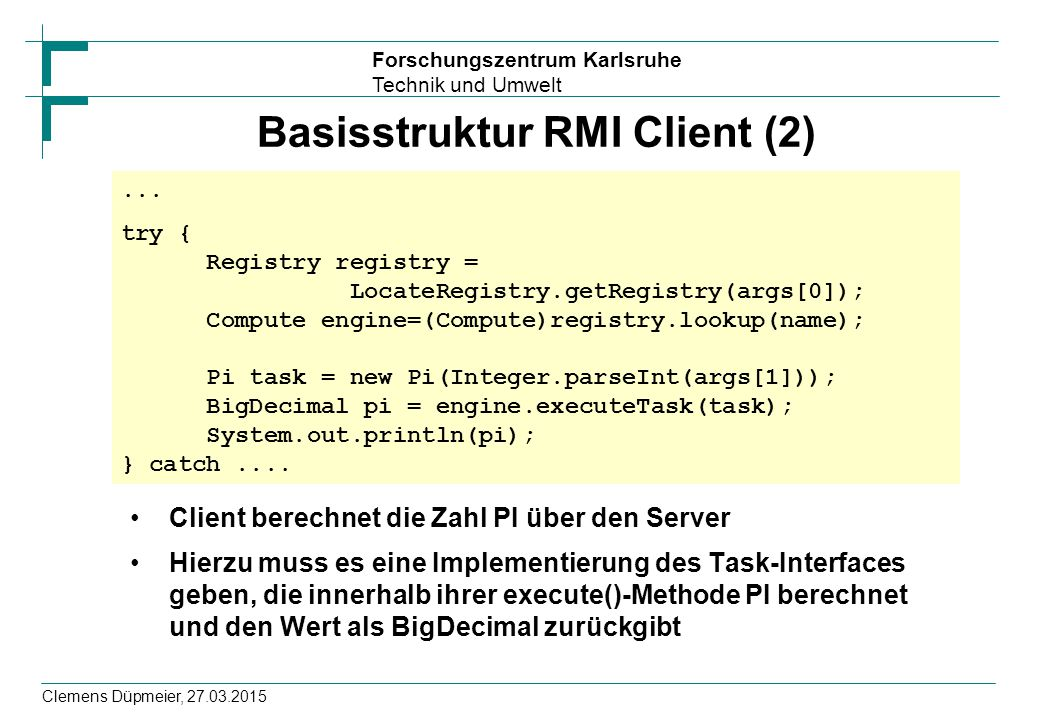 Basisstruktur RMI Client (2)